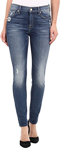 7 For All Mankind Women's Ankle Skinny Jean With Knee Hole In Slim Illusion Aggressive Atlas Blue, S..
