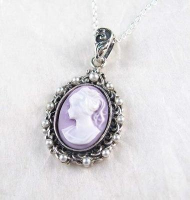 Pearl Halo Lavender Cameo Necklace