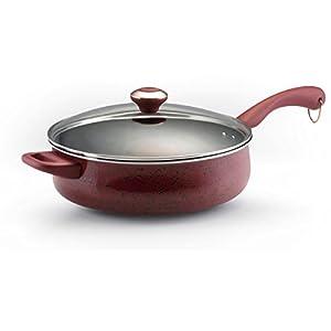 Paula Deen Signature Porcelain Nonstick Covered Saute Pan, 5-Quart, Red