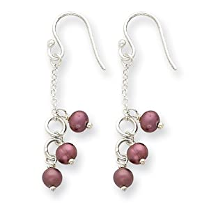 Sterling Silver Freshwater Cultured Violet Pearl Earrings