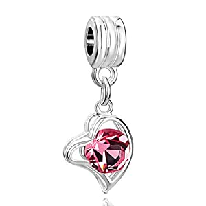 Pugster Love Gift Rose Crystal Heart Dangle Lover Spacer Bead Charm Bracelet