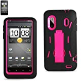 Silicone Protector 2-in-1 Hybrid Cover with Kickstand for Sprint/Boost HTC EVO 4G Design 6285 - Black/Hot Pink