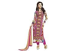 Pavani Women's Georgette Semi Stitched Dress Material (D1500209_Multi_Free Size)