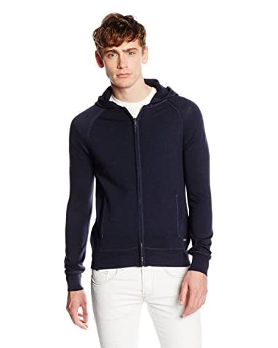 7 For All Mankind Chaqueta Punto Merino Hoodie Azul Oscuro