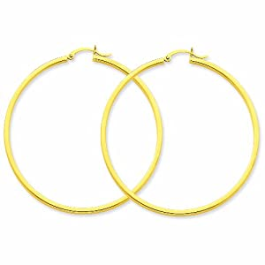 14k 2mm Square Tube Hoop Earrings