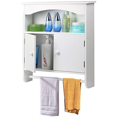 World Pride White Wood Bathroom Wall Cabinet Toilet Medicine Storage Organiser with Bar Cupboard Unit (Wall Cabinet Bar compare prices)