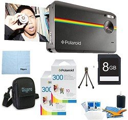 Polaroid Z230 10MP Digital Instant Print Camera (Black) BUNDLE with 60 extra ZINK Sheets of Paper, 8GB Card, Case, Mini Tripod + MORE!