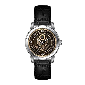 AMS Christmas Gift Watch Women's Vintage Design Leather Black Band Wrist Watch Great Seal Wristwatch