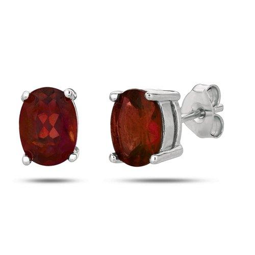 Sterling Silver Rhodium Plated Oval Garnet Stud Earrings (5 X 3 mm)