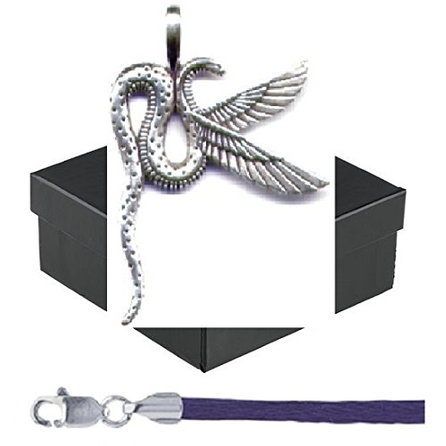 """Gift Boxed Winged Serpent Pendant With 18"""" Purple Satin Cord Sterling Silver Egyptian Style Jewelry front-709231"""
