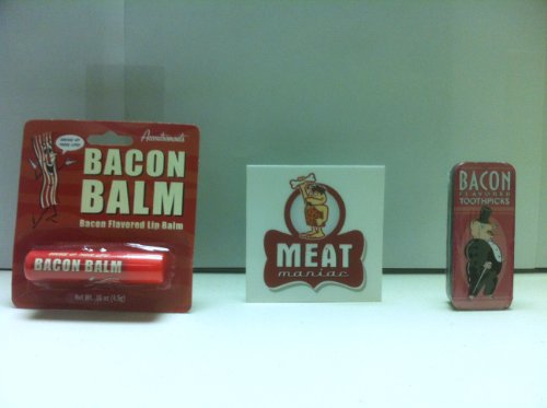 MEAT MANIAC Bacon Lovers Combo Gift Pack with Sticker- Bacon Lip Balm & Bacon Toothpicks - 1
