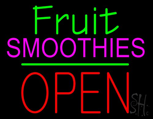 """Fruit Smoothies Block Open Green Line Neon Sign 24"""" Tall X 31"""" Wide X 3"""" Deep front-608646"""
