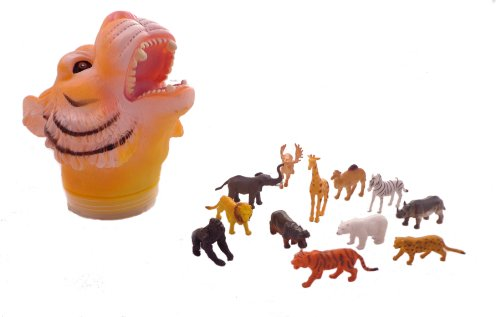 WeGlow International Tiger Carry Along Toy Case with 12 Wild Animals