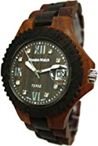 Tense Two Tone Round Date Wooden Watch Mens Roman Dark Dial G4100SD RNDF