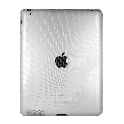 Apple+iPad2+16GB%2C32GB%2C64GB+専用ケース TPU素材のウェーブデザイン+クリア 【セット】=【ケース+液晶保護フィルム】+[PC]