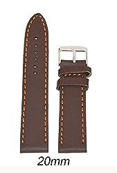 Like 20 mm Leather Plain Matte Finish Watch Strap (Brown)