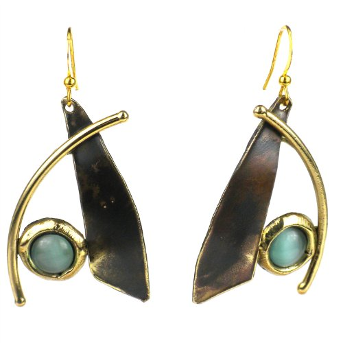 Blade And Aqua Tiger Eye Brass Earrings - Brass Images