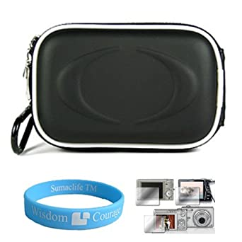 Camera Case for Sony Cybershot DSC-T DSC-W Series (Eva Black) + Universal LCD Screen Protector Kit + Includes SumacLife Wisdom Courage Wristband