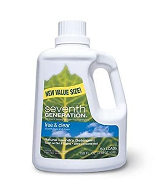 Seventh Generation Natural Laundry Detergent, Free & Clear, Ultra-Concentrated Liquid, 150-Ounce Bottles (Pack of 3)