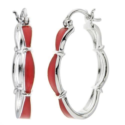 Sterling Silver Red Enamel Floral Hoop Earrings