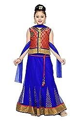 Aarika Girls' Self Design Party Wear Lehenga Choli Set (545-RED BLUE_40_15-16 Years)