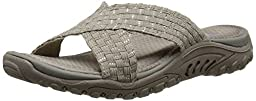 Skechers Women\'s Reggae Rootsy Vibe Flip Flop, Taupe/Silver, 5 M US