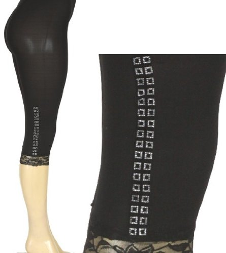Black Lace Cuff Knee Length Leggings with Rhinestone Squares Detail