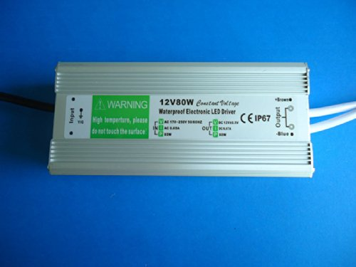 E-Age Ip67 Led Driver Waterproof 80 Watt, Led Driver Power Supply 12 Volt 6.67Amp Dc Output