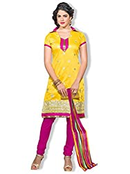 Varibha Women's Branded Indian Style Canderi Cotton Yellow Salwar Suit Dress Material ( Best Gift For Mom, Wife, Sister )