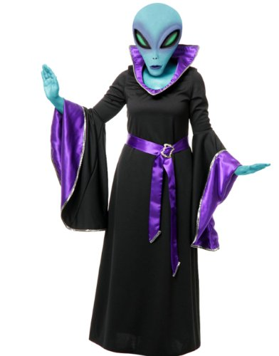 Adult Womens Purple And Black Alien Queen Witch Space Gown Costume Small 5-7