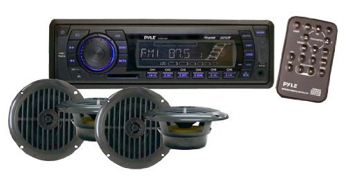 Pyle PLMRKT14BK Stereo Radio Headunit Receiver & Speaker Kit, Aux (3.5mm) MP3 Input, USB Flash & SD Card Readers, Remote Control, Includes (4) Waterproof 6.5'' Speakers, Single DIN (Black)