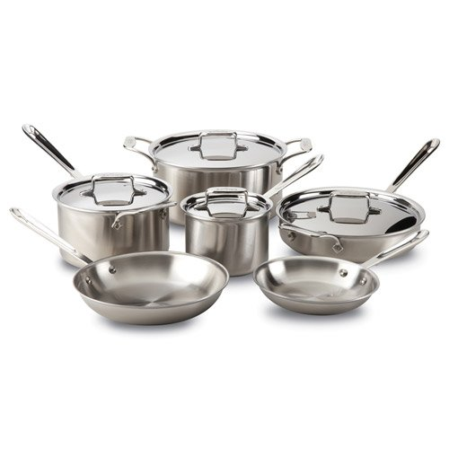 All-Clad d5 Brushed Stainless Steel Cookware Set, 10 piece