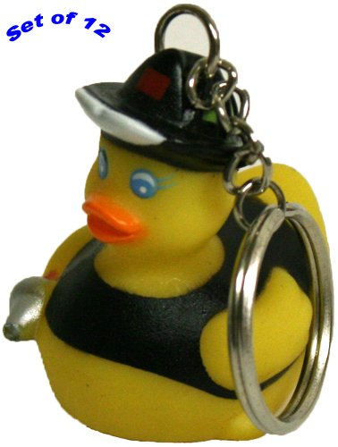 Rubber Ducks Fireman Keychain Gift Pack Of 12, Waddlers Brand Personality Themed Lively Mini Fireman Rubber Ducky