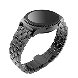 For Gear S2 Classic Watch Band (SM-R732 Version), HP95(TM) Solid Stainless Steel Metal Replacement Watch Strap Watchband with Durable Folding Connector for Samsung Galaxy Gear S2 Classic SM-R732