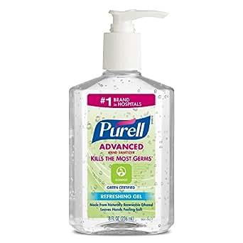 PURELL 9691-12 Advanced Green Certified Instant Hand Sanitizer, 8 fl. oz. Pump Bottle (Case of 12)