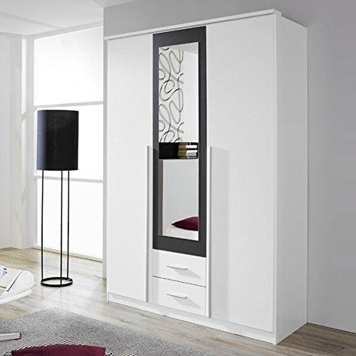 Kleiderschrank weiß / grau 3 Türen B 136 cm Schrank Drehtürenschrank Wäscheschrank Spiegelschrank Kinderzimmer Jugendzimmer kaufen