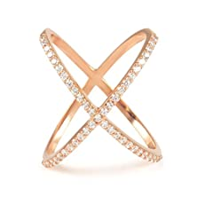 buy Bsd Treasure Sterling Silver ''X'' Open Rings - Assorted Colors (Rose Gold Over Size 8)