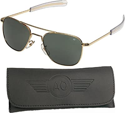 AO Flight Gear General Sunglasses, Comfort Cable, Gold Frame, Amber Glass Lens, 52mm,