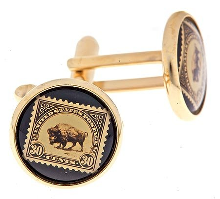JJ Weston gold plated cufflinks with an image of a buffalo stamp with presentation case. Made in the U.S.A