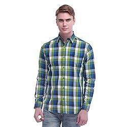 Jogur Green Color Checkered Shirt For Men