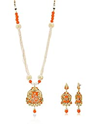 Ava Traditional Jewellery Set For Women (Orange) (S-GA-1253)