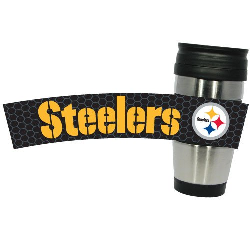 Nfl Pittsburgh Steelers Stainless Steel Travel Tumbler With 3D Logo Wrap, 15-Ounce, Silver