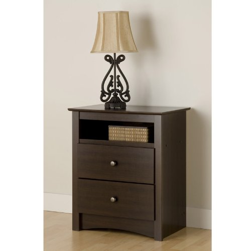 Prepac EDC-2428 Fremont Collection 2 Drawer Tall Night Table With Open Shelf - Espresso