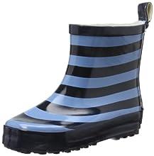 Playshoes Gummistiefel Ringel nieder, Unisex-Kinder Kurzschaft Gummistiefel mit Reflektoren, Blau (marine/hellblau 639), 23 EU