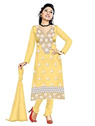 RockChin Fashions Yellow Embroidered Dress Material