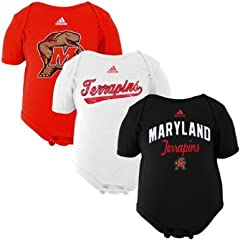 Buy NCAA adidas Maryland Terrapins Infant 3-Pack Creeper Set - Black Red White by adidas
