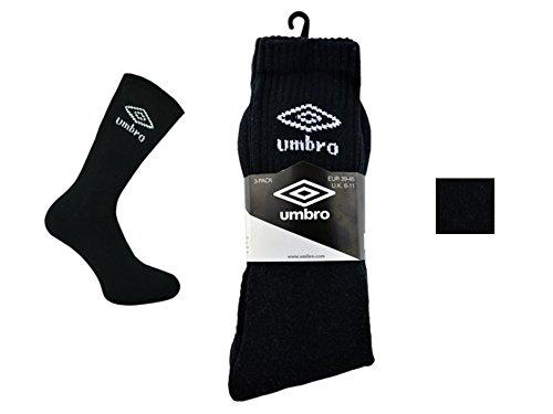 12paia da Uomo Official Umbro Cotone Nero, Bianco & assortiti calzini sportivi, taglia 6-11, nero
