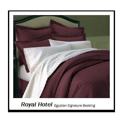 BRANDED BEDDING~ITEM 100/% Egyptian Cotton 600 TC USA Sizes Burgundy Stripe**