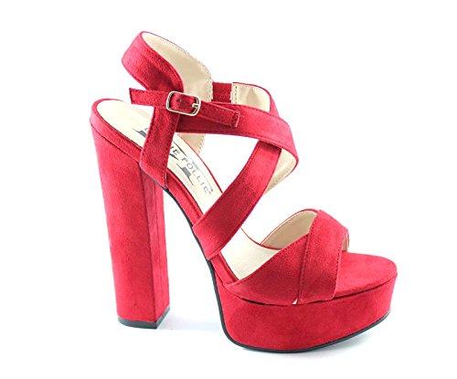 DIVINE FOLLIE WS1785 red rosso sandali donna tacco plateaux incrocio 37