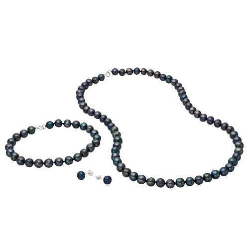 Perfect Gift - Sterling Silver 6.5-7mm Genuine Freshwater Black Pearl Neklace, Bracelet and Earring Set